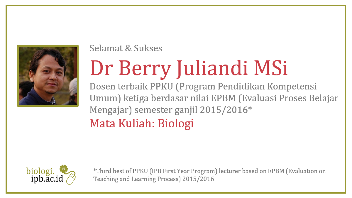 Congratulation! Dr Berry Juliandi as third best of PPKU lecturer based on EPBM