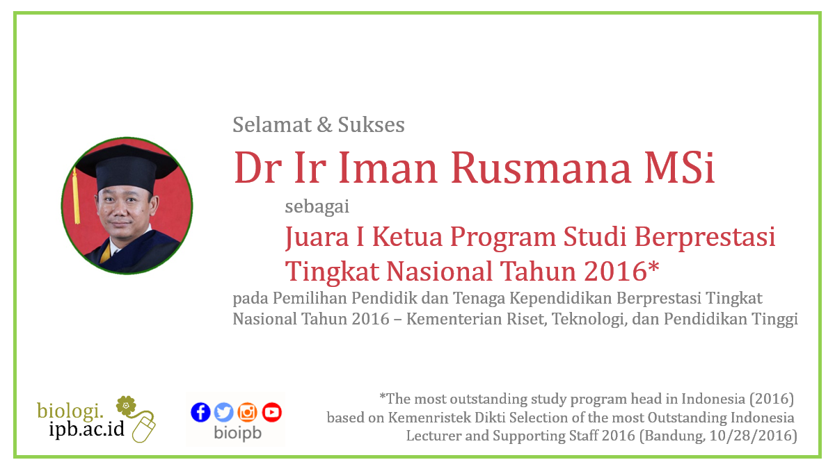 Dr Ir Iman Rusmana MSi  as the most Outstanding Study Program Head in Indonesia