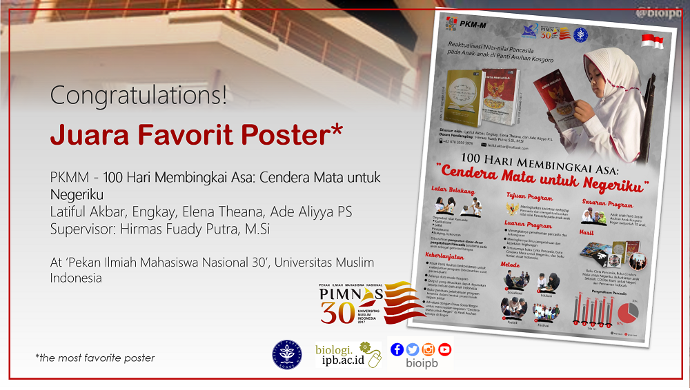 Congratulation! #bioipb team as Juara Favorit Poster at Pimnas 30