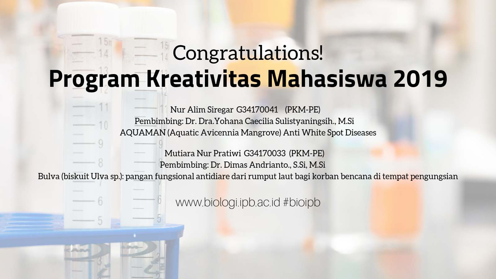 Congratulations! The grantees of PKM 2019