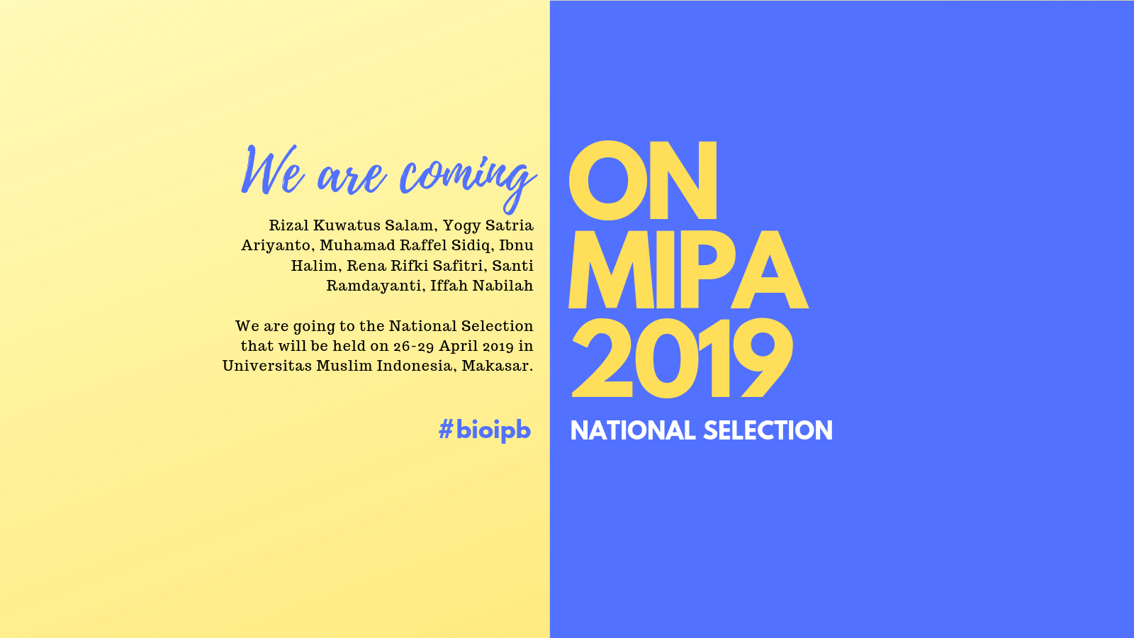 National Selection of ONMIPA 2019